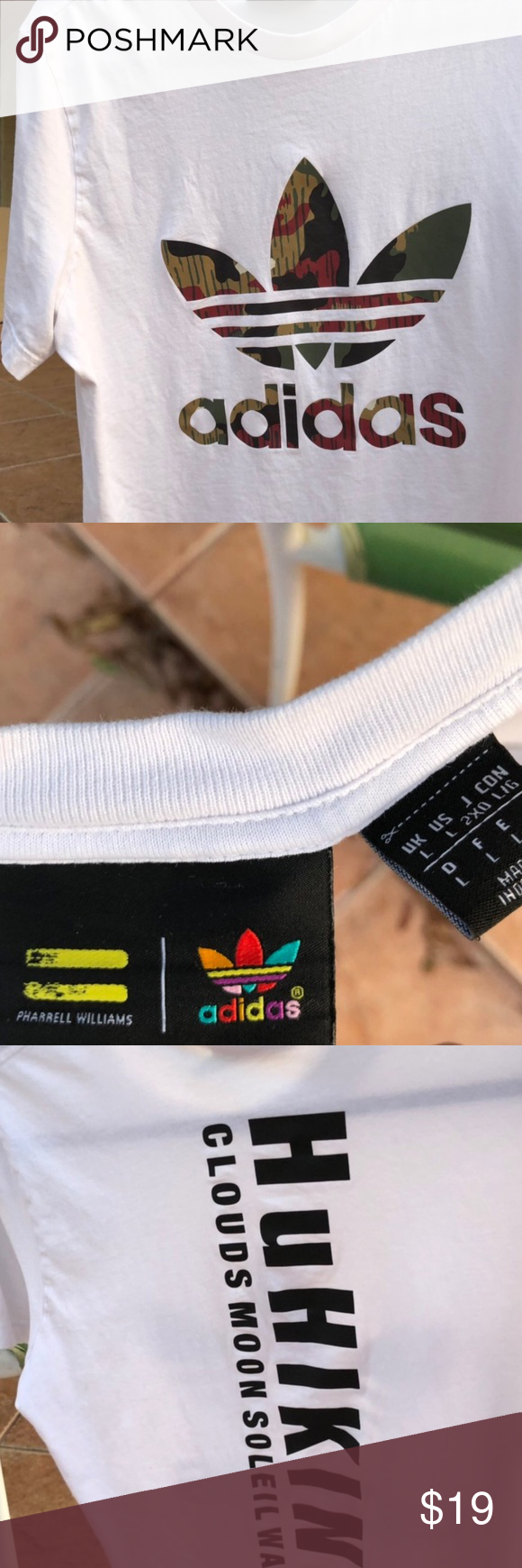 d59bd63dbcbf6 ADIDAS WHITE TSHIRT PHARRELL WILLIAMS HU AUTHENTIC Picture as described. No  cracking in print