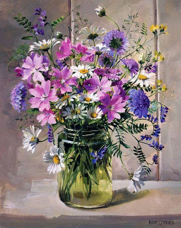 Художница Anne Cotterill | Цветочные картины, Цветы, Картины