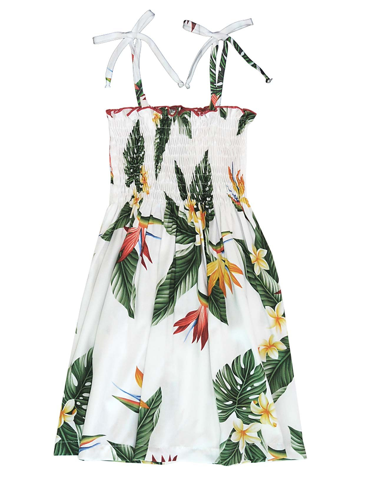 efb084fe84 Shop from Hawaii Smocked Top Girls Hawaiian Dress Birds of Paradise at Shaka  Time Hawaii Clothing Store