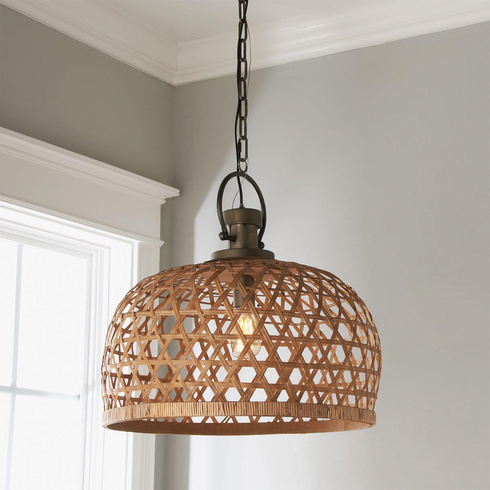 Basketweave Bamboo Pendant Shades of Light Rustic
