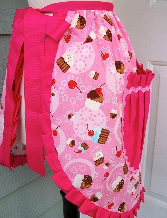 Valentine Aprons | Valentineu0027s Apron Hot Pink And Cupcakes With By ... |  Aprons