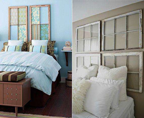 bett rückwand selber machen aus alten holzfensterrahmen als coole, Schlafzimmer ideen