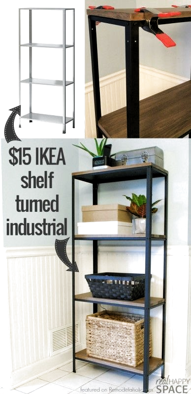 How To Turn Ikea Industrial From A Cheap Shelf To A Beautiful Wood And Metal Industrial Styl In 2020 Diy Mobel Einfach Industriedesign Hauser Mobel Zum Selbermachen