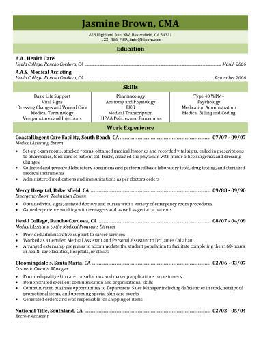 Medical Assistant Extern Resume Template | Resume Templates And