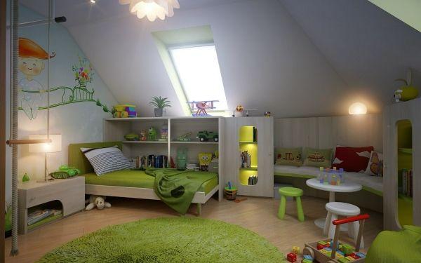 Kinderzimmer dachgeschoss grün wandmalerei stauraum ideen ...