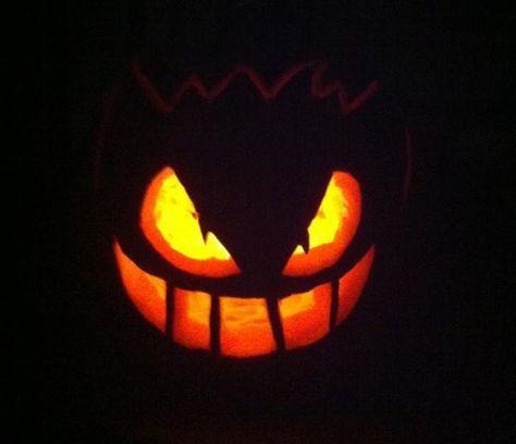 pumpkin template gengar  Pokemon Gengar Jack-o-Lantern [pic]   Scary pumpkin carving ...