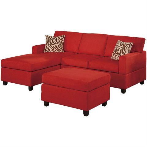 This 3 Piece Reversible Sectional Sofa Set In Red Microfiber Is