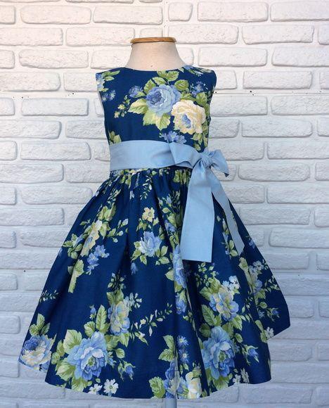 ef00d71bb2 Vestido Infantil Floral Azul