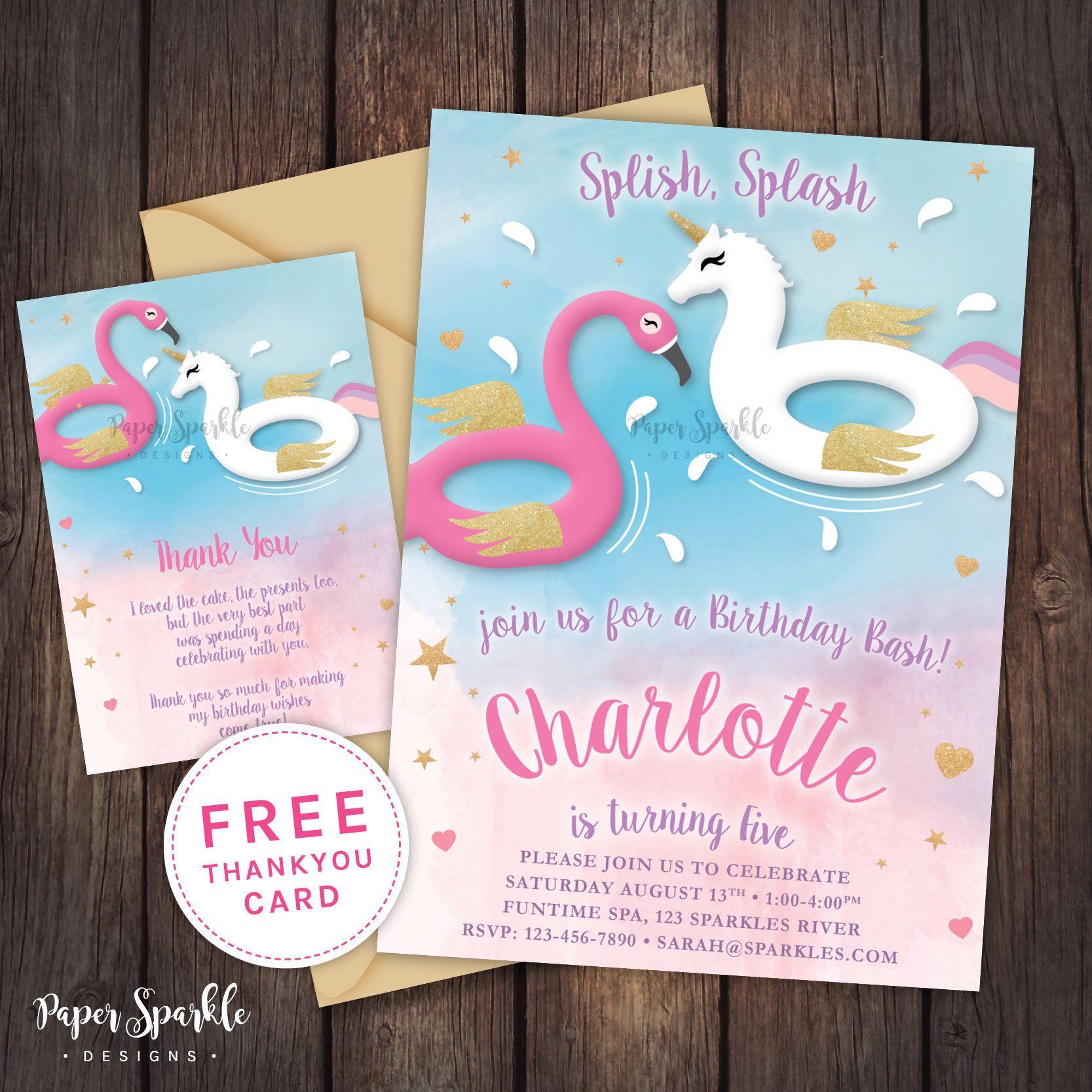 Unicorn invitation, Unicorn party, Unicorn pool party invitation ...