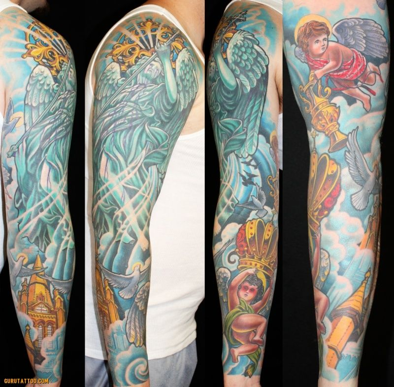 st michael and angels heaven scene tattoo sleeve by aaron della vedova tattoos stmichael. Black Bedroom Furniture Sets. Home Design Ideas
