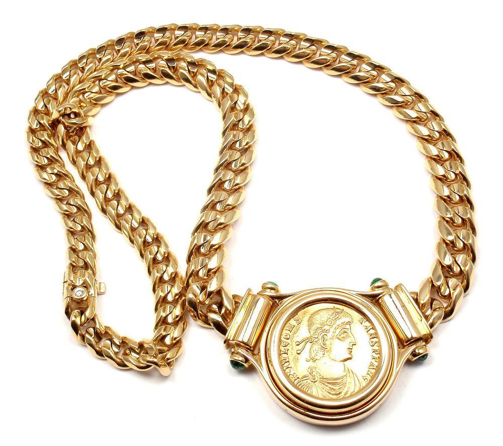 bvlgari bulgari 18k yellow gold emerald ancient roman coin link necklace bulgari