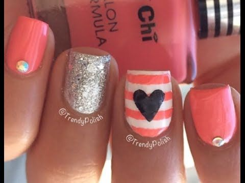 Coral Black White Claws Nail Designs Stiletto Nails Bling Nails