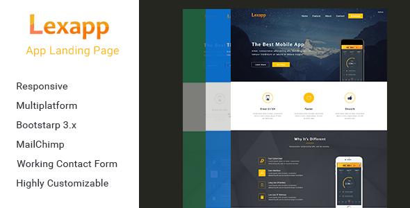 Lexapp App Landing Template Lexapp Is A Single Page App Landing - Single page landing page template