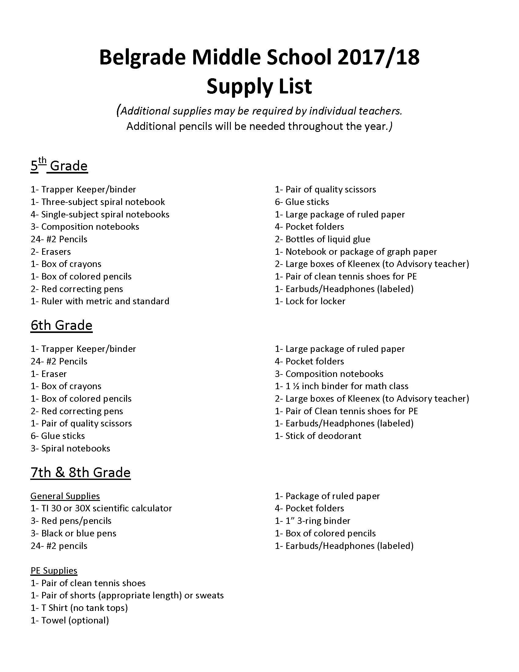 a9ef5e05671 Middle School Supply List 2017-18
