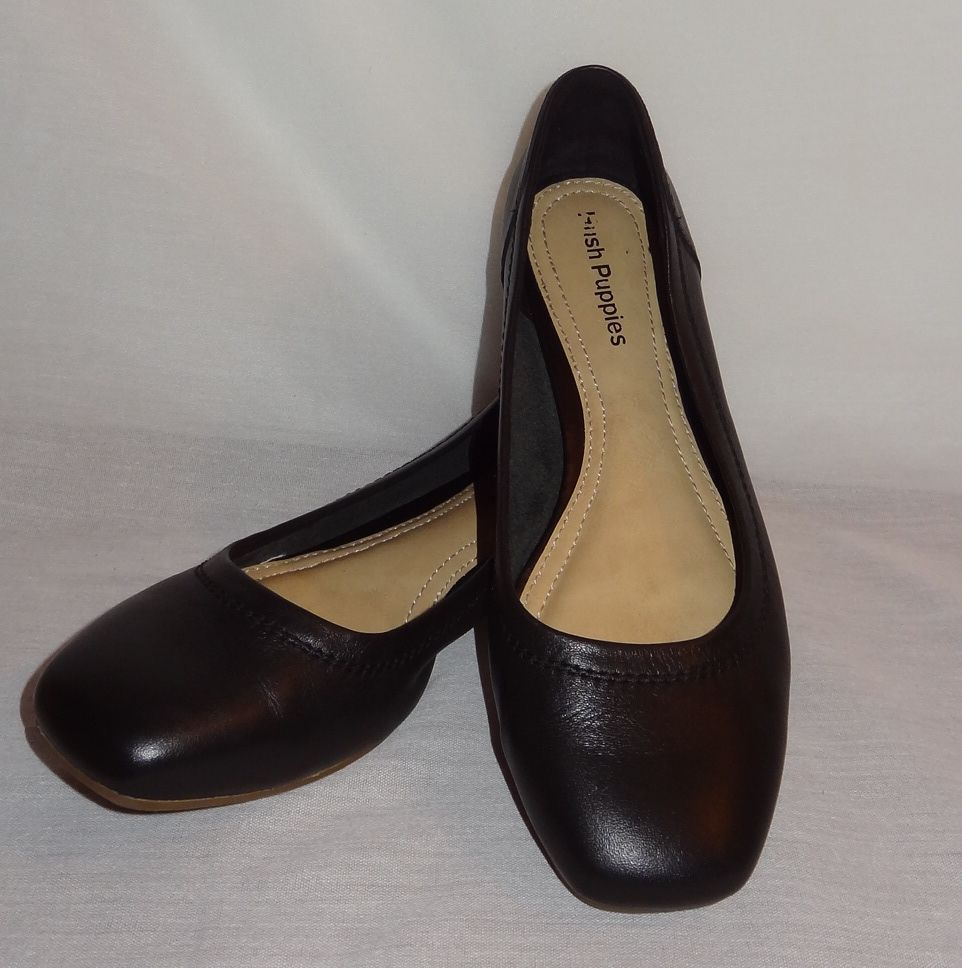 08f384db1315 Wide toe for comfort. Black Slip on Flat Dress Shoes Women Size 8M Hush  Puppies Leather  HushPuppies  Loafers  Career