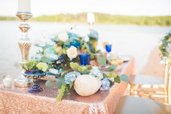 Oceanfront Mermaid Inspired Styled Wedding Shoot On The Beach Wedding Shoot Reception Decorations Wedding