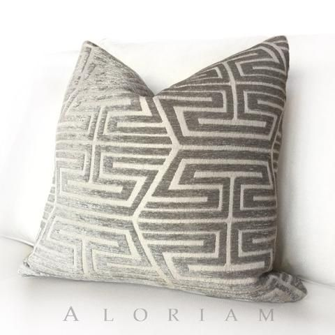 Modern Asian Geometric Fretwork Taupe Gray Beige Pillow Cover Enchanting Asian Pillow Covers