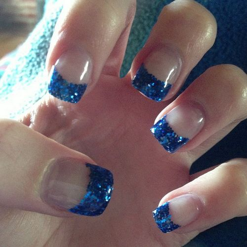 Blue Prom Nails French Tip: Glitter Acrylic Nails Ideas