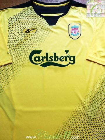 Relive Liverpool 2004 2005 season with this original Reebok away football  shirt. 1993dbffef7f3
