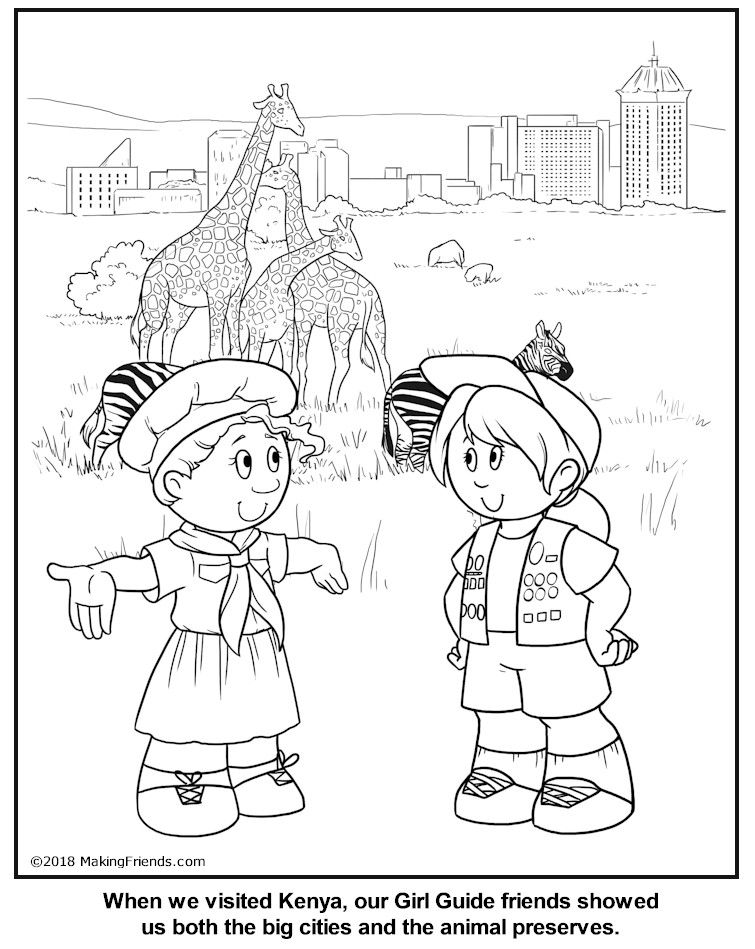 Kenyan Guide Coloring Page Girl Guides World Thinking Day Girl