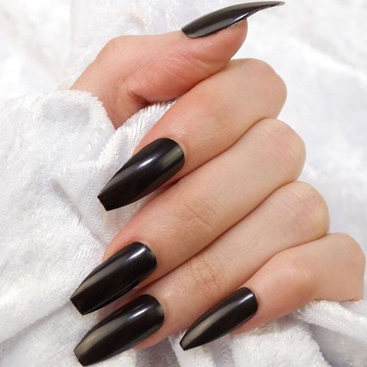 Coffin shaped nails, also called Ballerina nails, have a ...