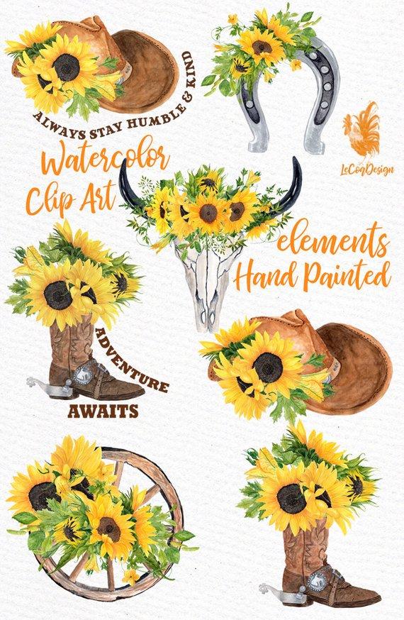 "Sunflower Clipart ""WESTERN SLIPART"" Cowboy clipart Bull"
