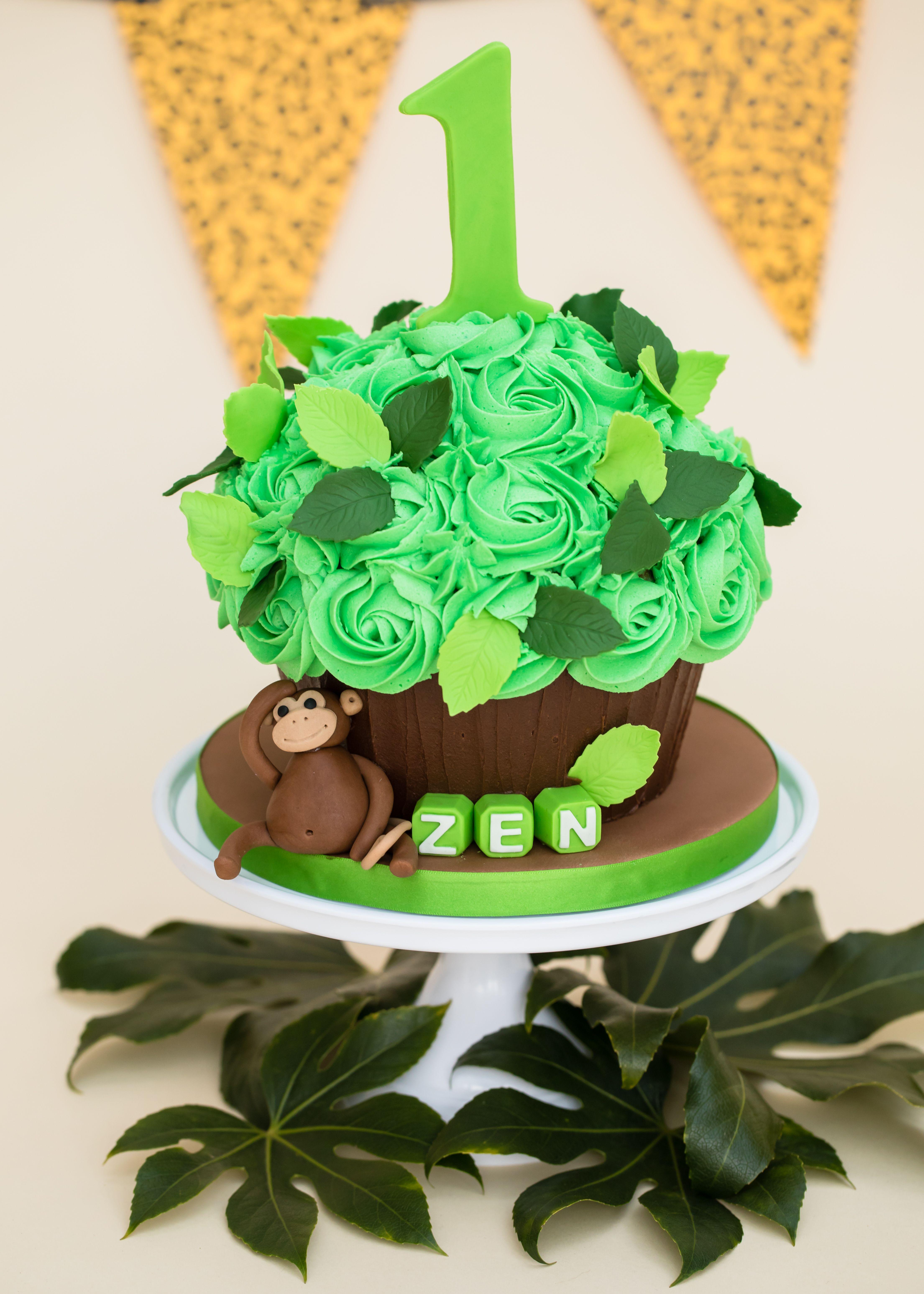 Jungle Theme Smash Cake Giant Cupcake 1st Birthday Ideas In 2019
