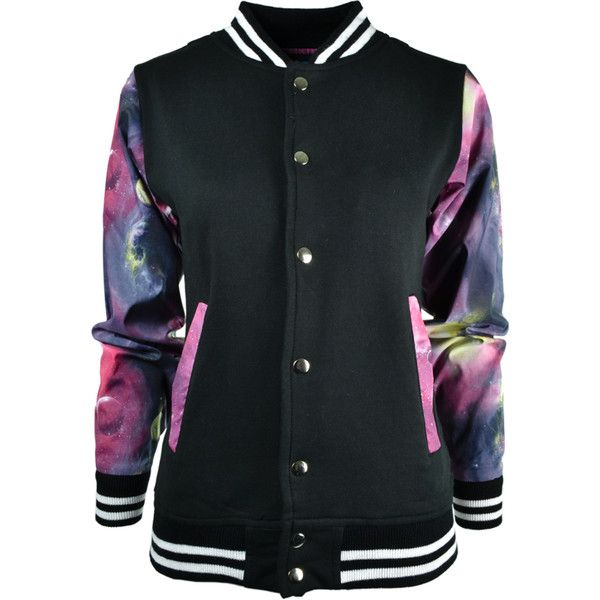 Punk'd Image Galaxy Varsity Jacket (£40) ❤ liked on Polyvore featuring outerwear, jackets, tops, coats, shirts, varsity bomber jacket, punk jacket, punk rock jacket, galaxy print jacket and galaxy jacket
