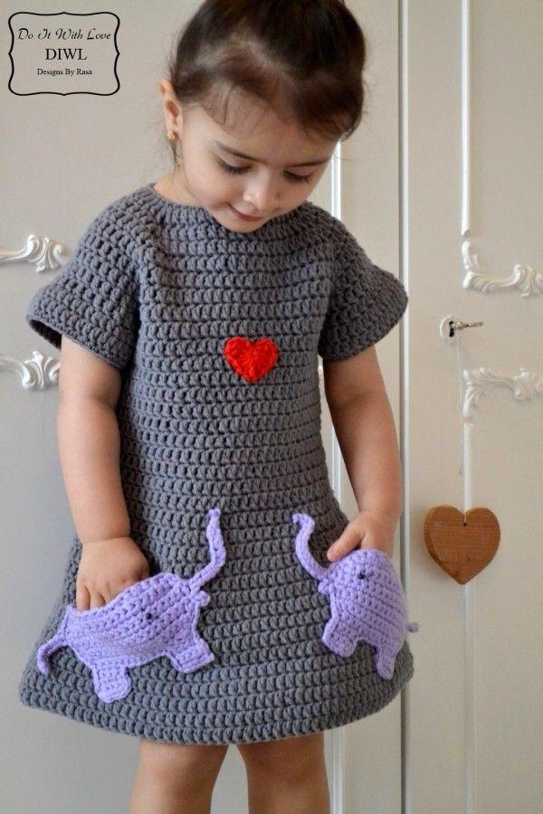 Mädchen-Kleid mit Elefanten-Motiv selber häkeln: Hol Dir die ...