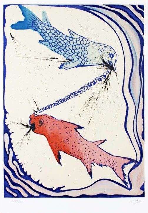 Pisces - Salvador Salvador Dalí's lithographs of the twelve signs of the zodiac, created in 1967 as a limited-edition of 250, which can be found in the occasional rare, pricey original folio and which Wisconsin's revered David Barnett Gallery has recently made available online as individual signed lithographs... | BrainPickings.org