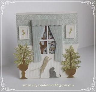 """De """"lambrizering"""" heb ik gemaakt door een stuk  fluweelkarton ( wat nu trouwens ook via de webwinkel van  Doe@ding  te verkrijgen is) van rillijnen te voorzien met de MS Mini Scoring Board. De rand erbovenop heb ik gemaakt door van twee Grand Flower Box mallen de rand af te snijden en die op de lambrizering te plakken. Het raam, de Small Madison Window,  heb ik bekleed met de super leuke Plush Curtains.  Van de vierkantjes die overbleven na het raam gestanst te hebben, heb ik schilderijtjes…"""