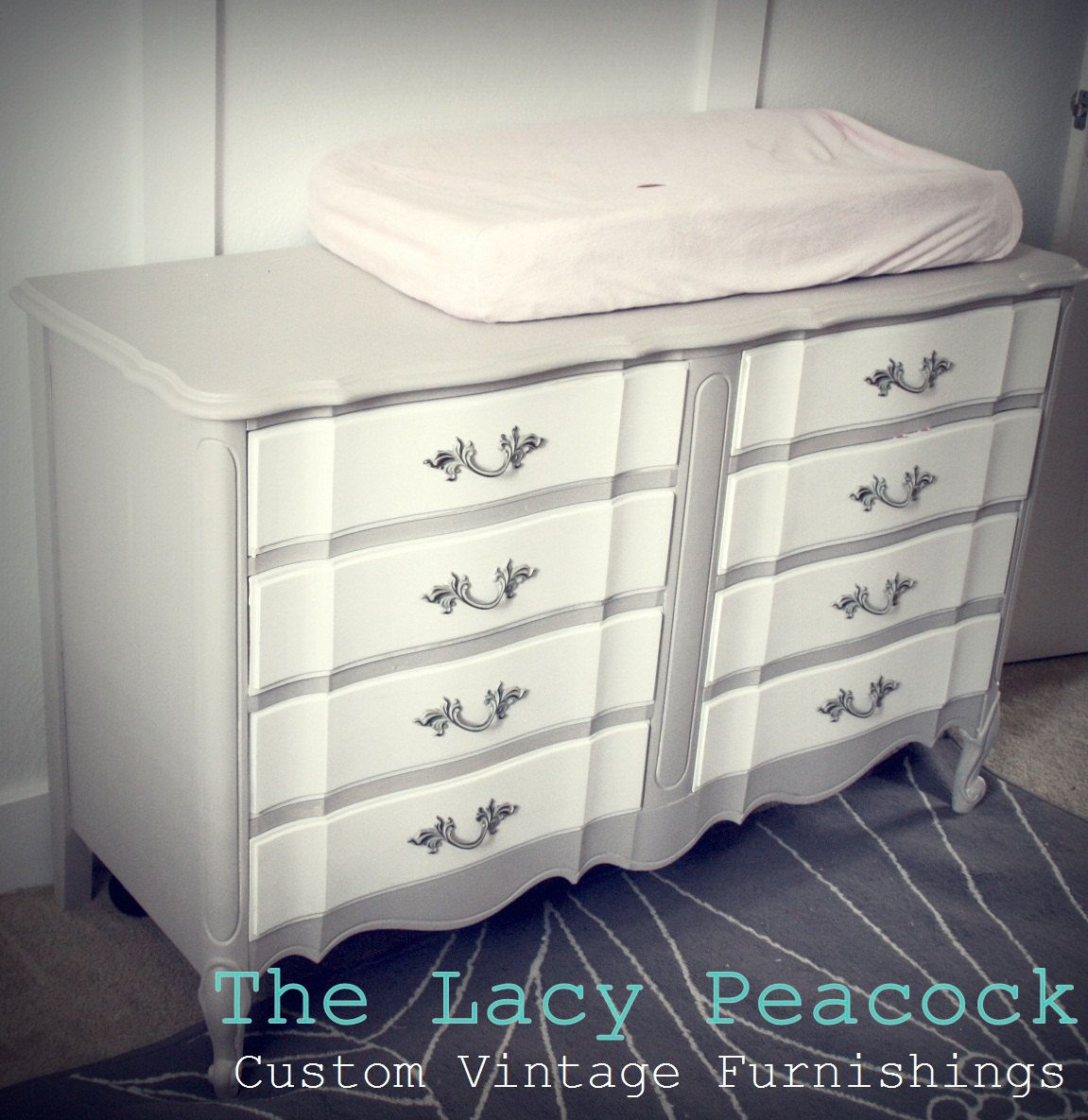 Gray And White French Provincial Dresser Changing Table
