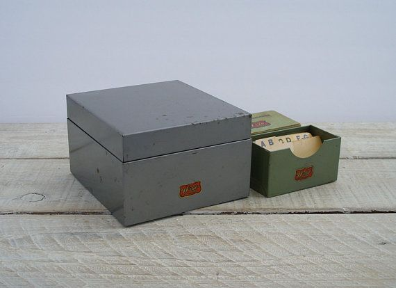 vintage weis metal office storage boxes index library recipe card holder business card file box retro gray green desk organzer - Business Card File Box