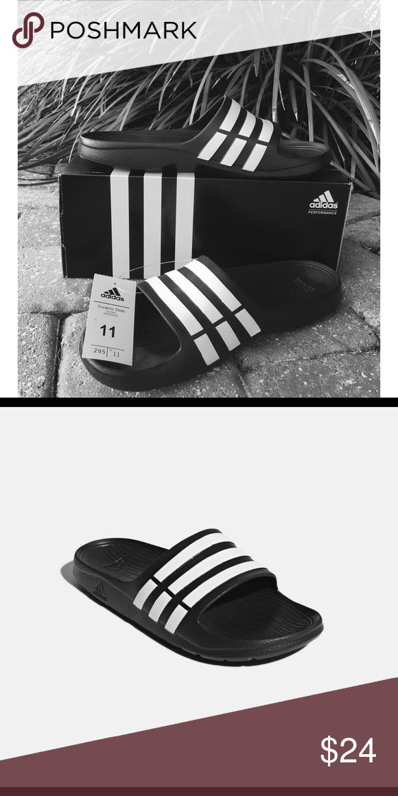 pretty nice 92143 c5c08 Adidas Duramo Slides Adidas Performance slide sandal is fast drying with a  textured footbed. Grab em for workouts or any day! Brand new with box.  adidas ...