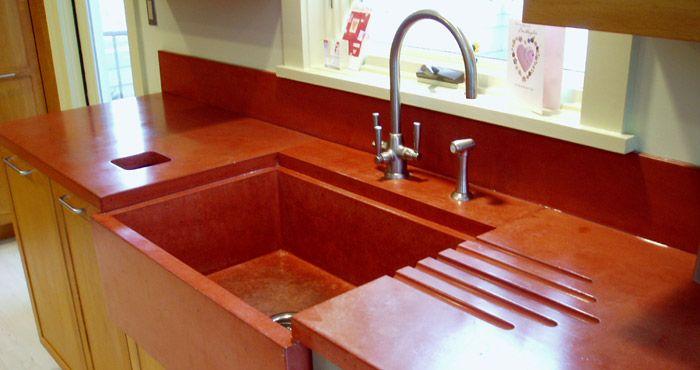 concrete countertops gallery with farmhouse sink   Custom Colored concrete  countertop with concrete sink and drain. concrete countertops gallery with farmhouse sink   Custom Colored