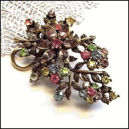 Coro Pin Flower Bouquet Rhinestone Brooch 1950s Vintage