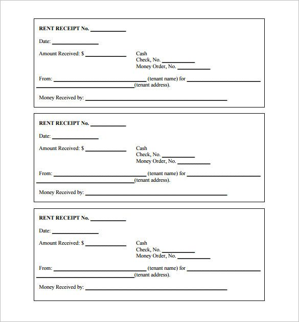 Printable Receipt Template , Receipt Template Doc for Word - free rent receipts