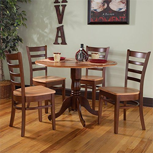 Complement Your Traditional Kitchen Decor With This International Concepts  Round Dual Drop Leaf Table And Ladderback Dining Chair Set.