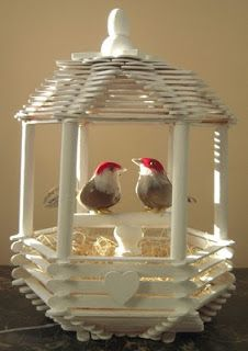 Bird cage using craft sticks. http://www.marvelouslymessy.com/2011/02/love-bird-house.html