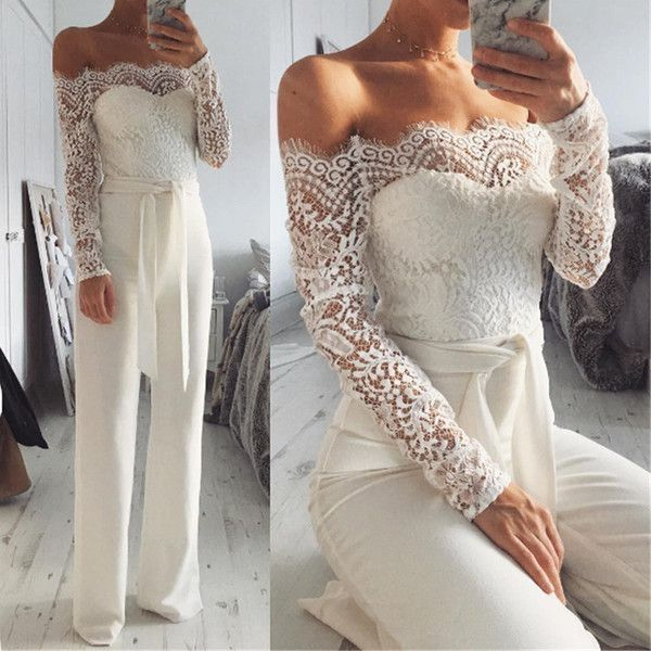 c17b67d091d2 Lydia Lace Off-the-Shoulder Jumpsuit ( 40) ❤ liked on Polyvore featuring  jumpsuits