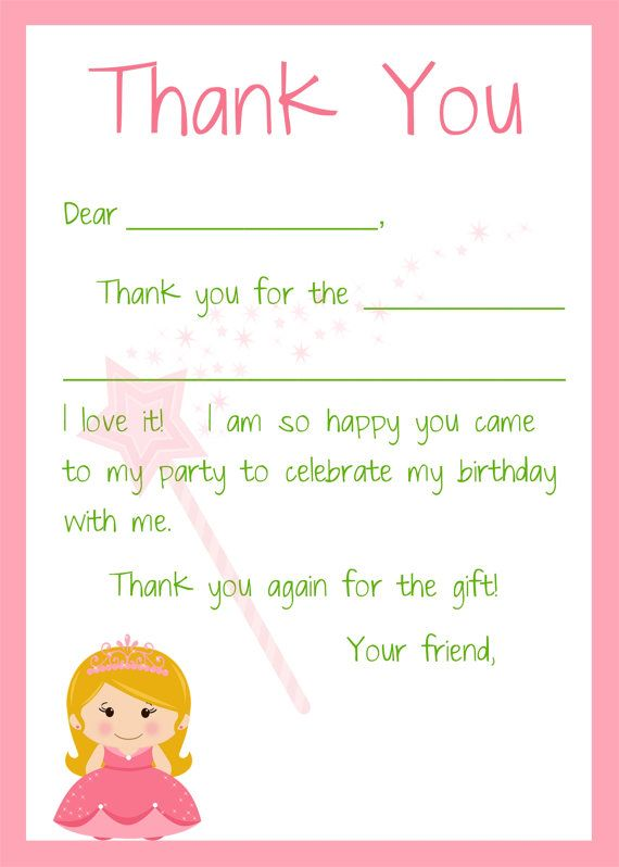 kids fill in the blank thank you cards for girls birthday
