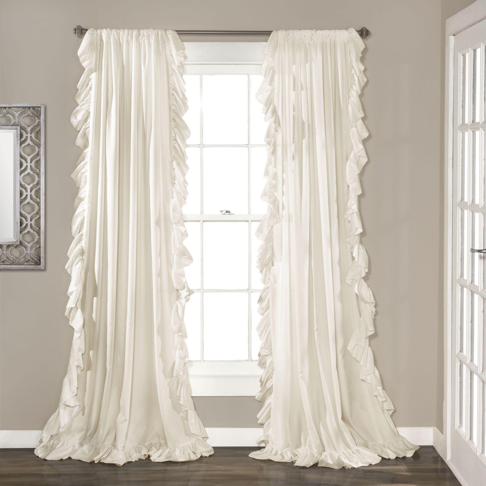 Lush Decor Reyna Curtain Panel Pair (Ivory), Beige Off-White, Size ...