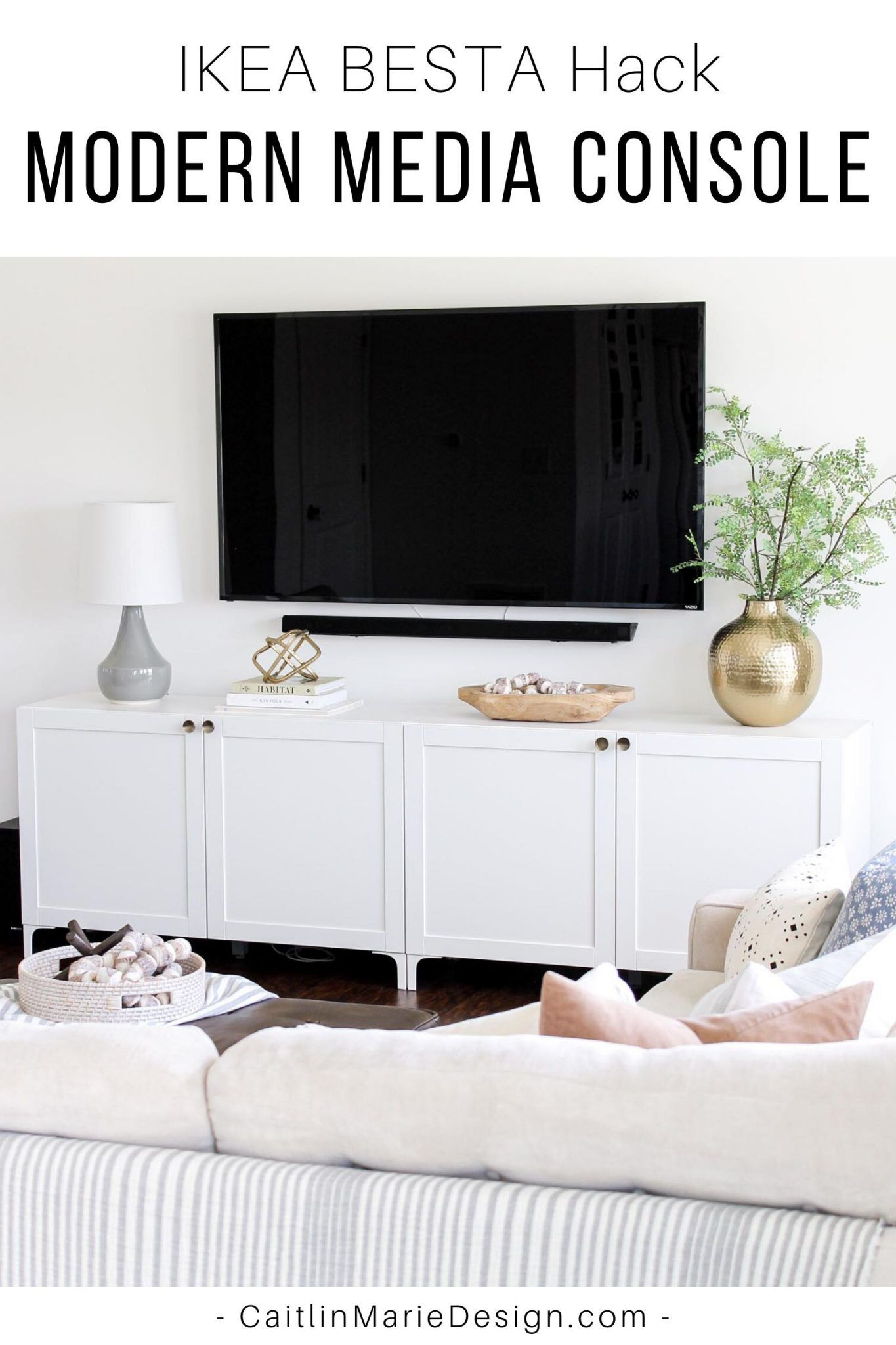 Photo of Modern Media Console | IKEA BESTA Hack – Caitlin Marie Design