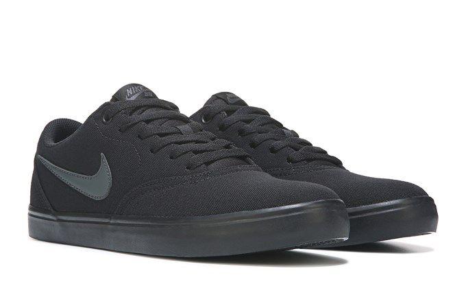 Nike Men's Nike SB Check Solar Canvas Skate Shoes (Black/Black)