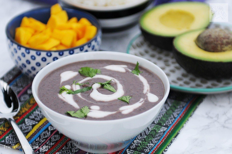 fried dandelions // black bean soup