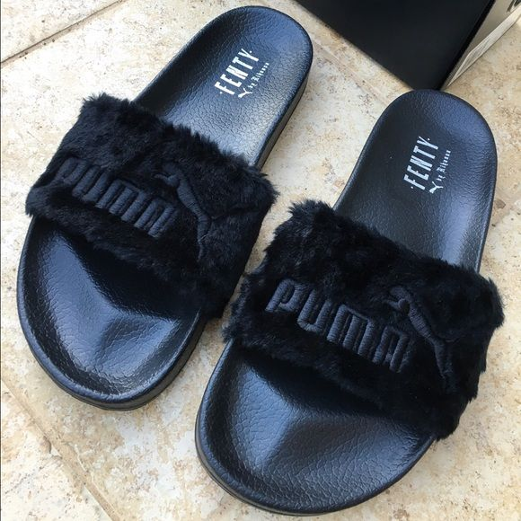 fa48b1cab168 Rihanna Fenty Fur Puma Slides Sz 10.5 Black New In Box .. Sold out  worldwide .. only come in half sizes .. will go lower just listing high to  see offers ...