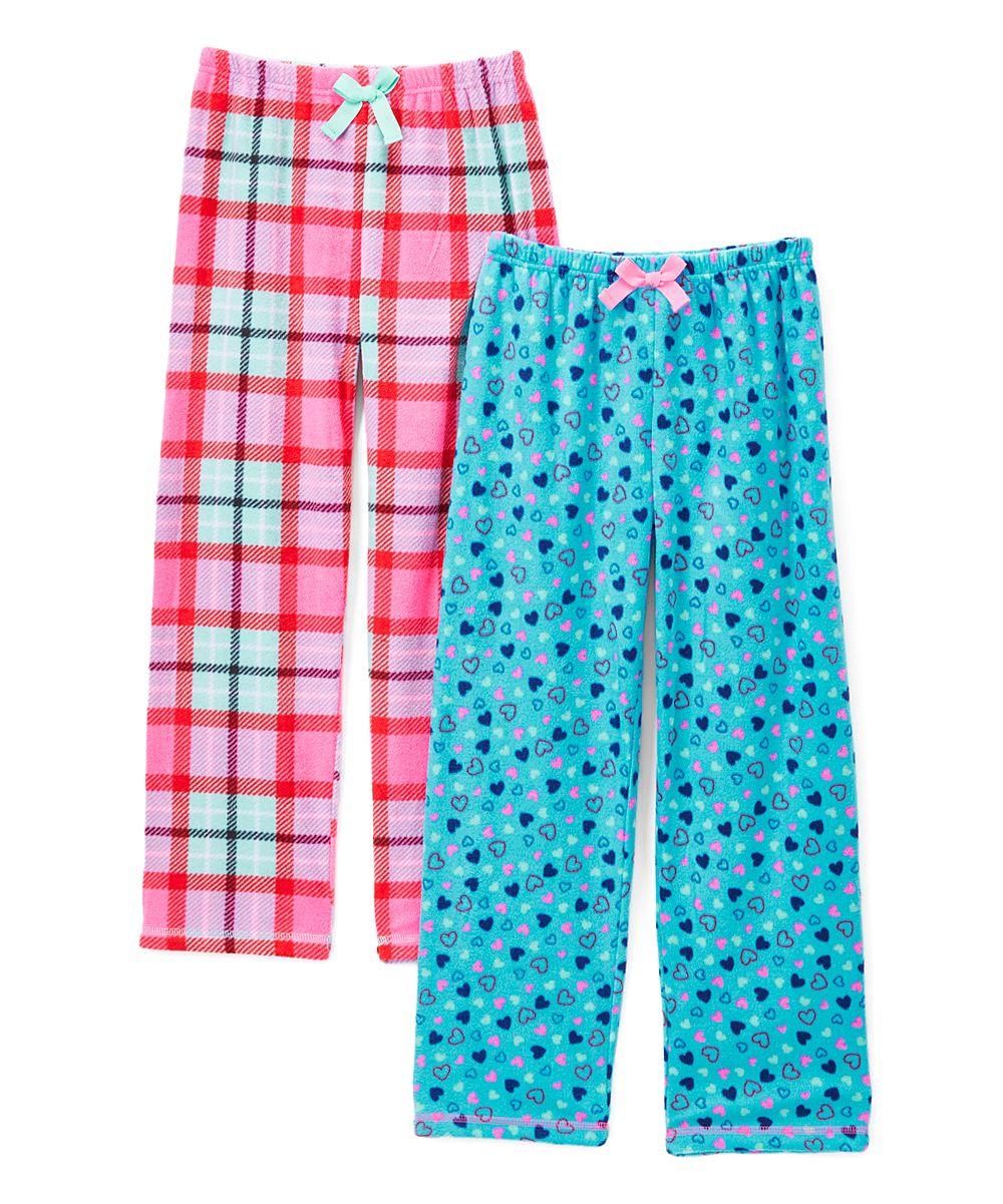 Pink Plaid & Blue Hearts Fleece Pajama Pants - Girls