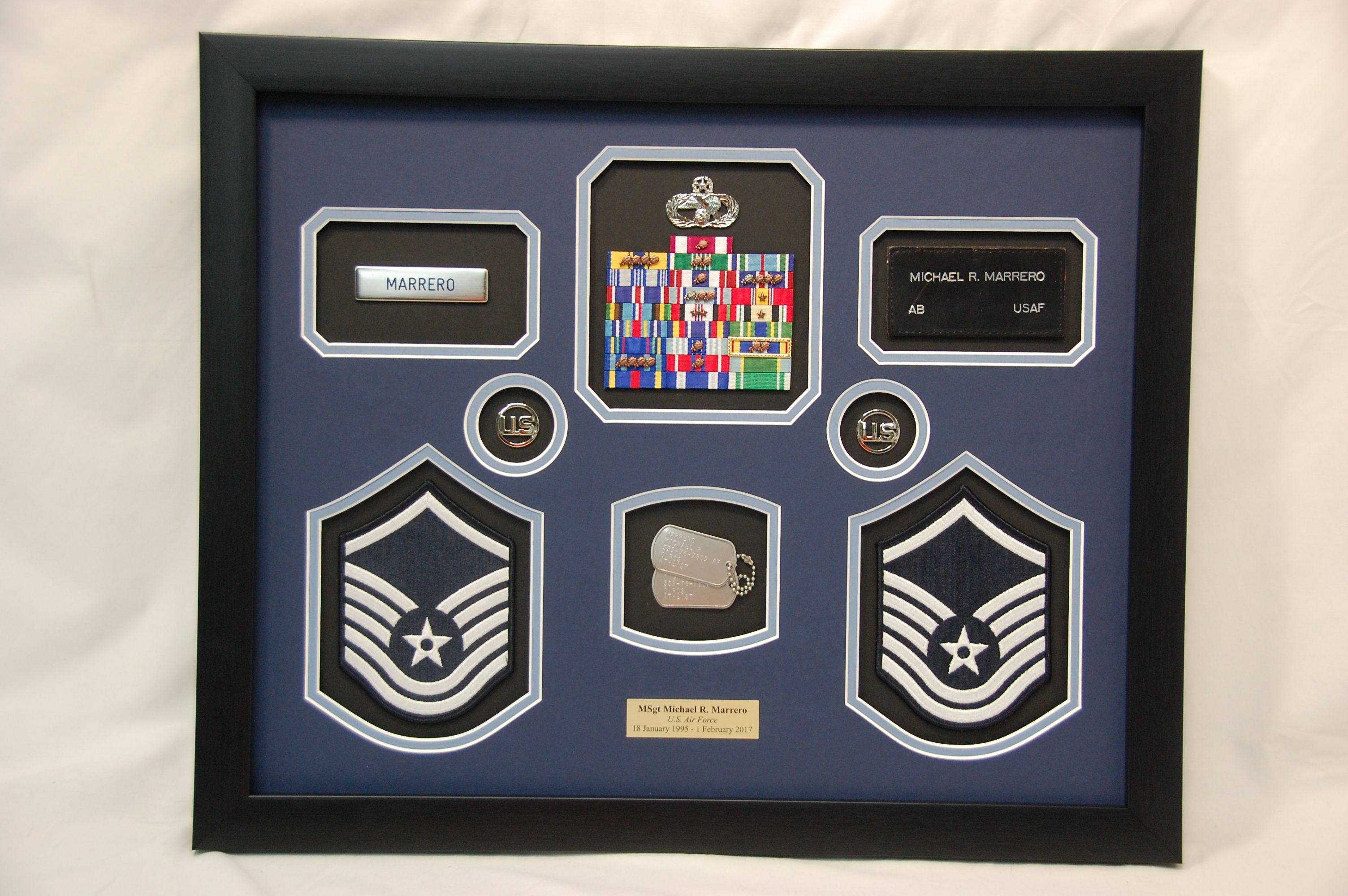 Usaf Shadow Box W Dog Tags Rank Patches Name Tags And