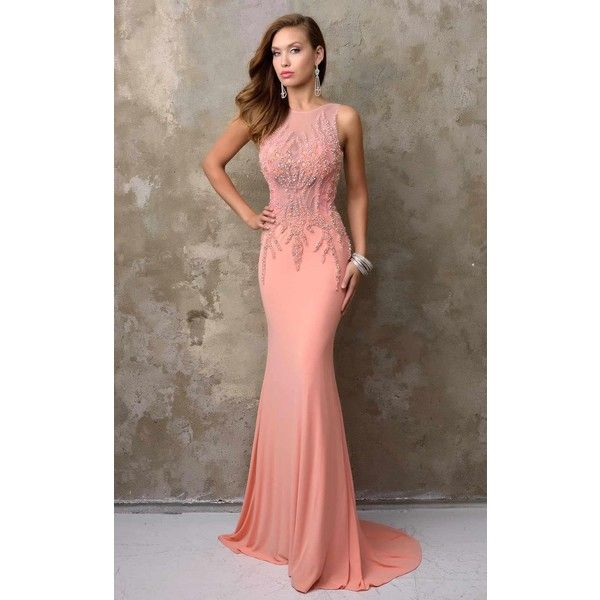 Long Peach Evening Dresses