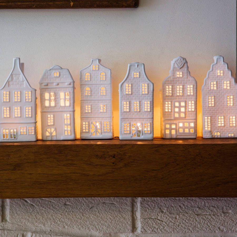 Porcelain canal house tea lights six designs light for Canal home designs